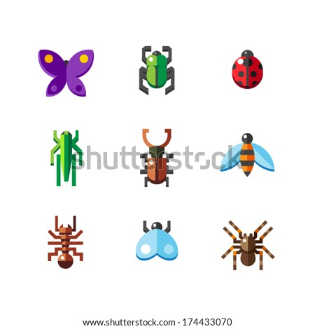 A set of flat insect bug icons, including ladybird  - stock vector