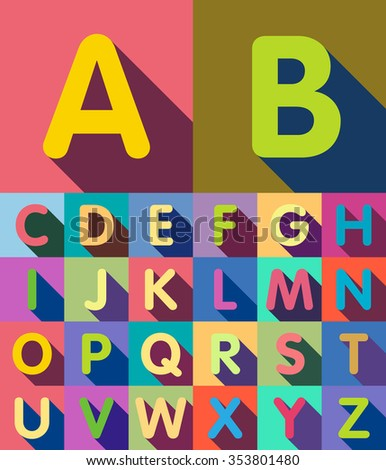 A set of flat letters with shadows. Alphabet. - stock vector