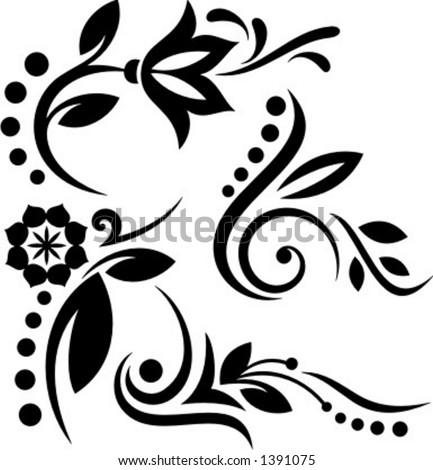 A set of 4 floral design elements. - stock vector