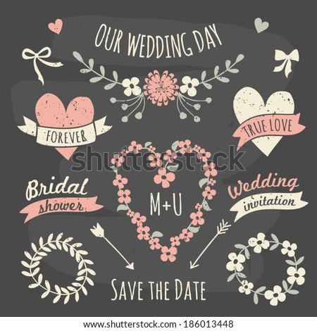 A set of floral design elements, wreaths, ribbons, arrows and hearts in chalkboard style. - stock vector