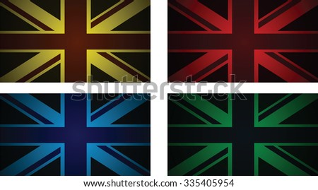 a set of four abstract uk flags - stock vector