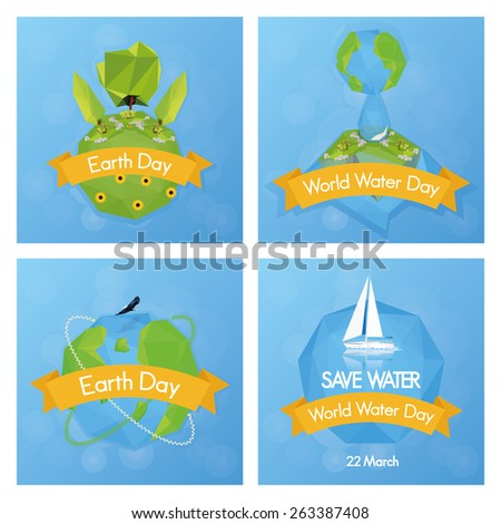 a set of four blue backgrounds with different nature elements for earth day - stock vector
