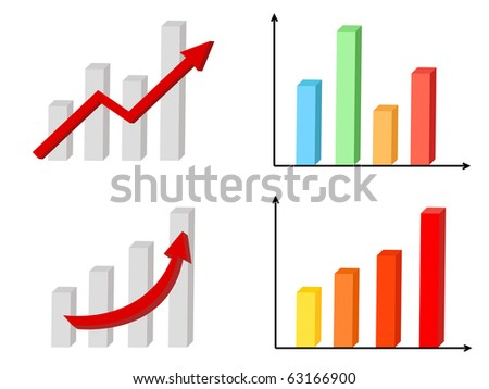 a set of four business diagrams and bars - stock vector