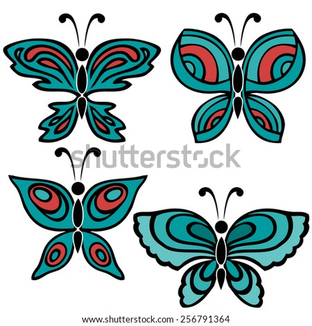 A set of four butterflies in aquamarine and red color with black contour on the white background - stock vector