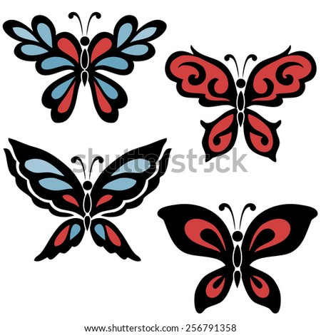 A set of four butterflies in blue and red color with black contour on the white background - stock vector