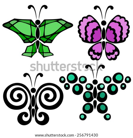 A set of four butterflies in green, aquamarine and violet color with black contour on the white background - stock vector