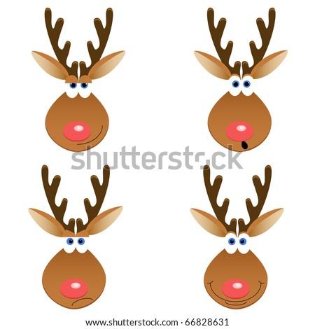 a set of four Christmas deer faces with different emotions - stock vector