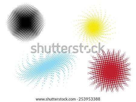 a set of four different colored dot patterns - stock vector