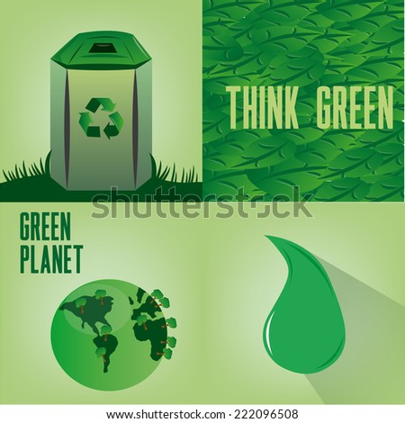 a set of four green backgrounds with different elements - stock vector