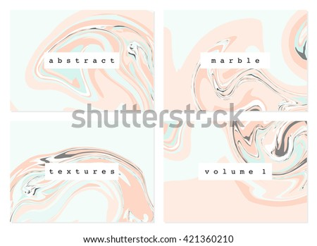 A set of four marble textures in pastel colors.  - stock vector