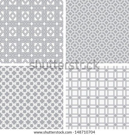A set of four monochrome geometrical patterns. White, gray grille texture in Arabic, Oriental style. A seamless vector background. - stock vector