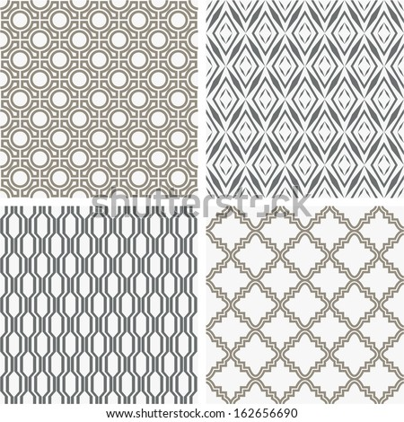 A set of four monochrome geometrical patterns. White, gray grille texture in Arabic, Oriental style. A seamless vector background.
