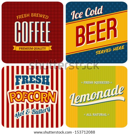 A set of four retro designs - packaging for coffee, beer, popcorn and lemonade. - stock vector