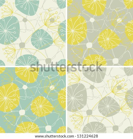 A set of four seamless floral patterns. - stock vector