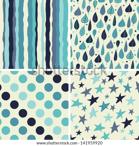 A set of four seamless patterns.  Seamless pattern can be used for wallpaper, pattern fills, web page background, - stock vector