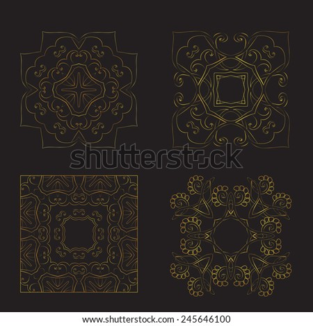 A set of four square patterns. - stock vector
