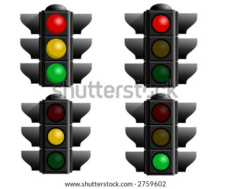 A set of four stop lights for your vector designs. A caution light, red light, green light and yellow light - stock vector