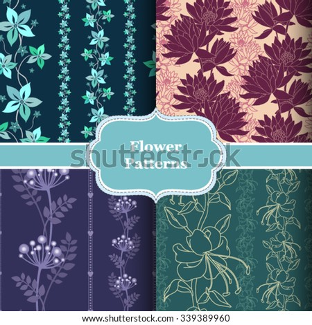 A set of four vector seamless patterns. Floral design for web, package, fabric and print products.