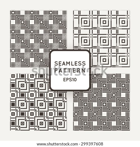 A set of four vector seamless patterns. Squares. Intersection. - stock vector