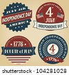 A set of four vintage style design elements for Independence Day. - stock photo