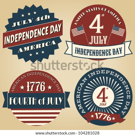 A set of four vintage style design elements for Independence Day. - stock vector