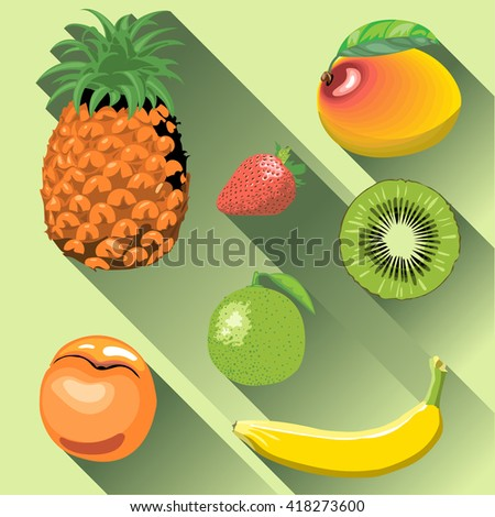 A set of fruits with shadow, pineapple, mango, peach, kiwi, banana, strawberry and lemon, digital vector image. - stock vector