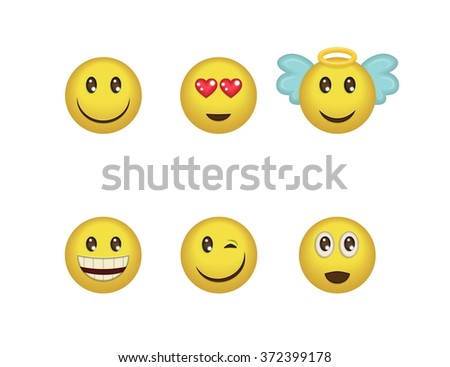 A set of fun positive emoticon expressions. Smile, wink, angel, surprised, in love, laugh smileys included - stock vector