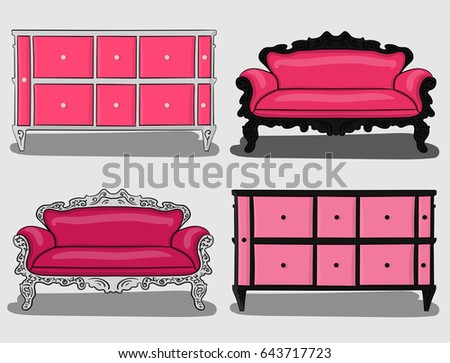 Set Furniture Sofas Chests Drawers Shades Stock Vector 643717723 ...