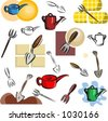 A set of gardening tool vector icons in color, and black and white renderings. - stock vector