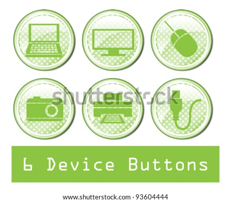A set of 6 glossy device buttons. - stock vector