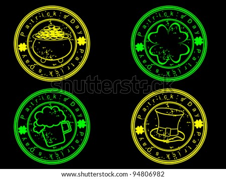 A set of glowing stamp  in green and yellow color on black background for St. Patrick's Day.Please see some similar images in my portfolio. - stock vector