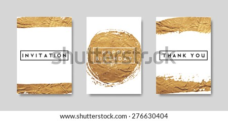 A set of gold foil abstract brush strokes card templates. Hand drawn invitation/ birthday card/ brochure design. EPS 10 file, gradient mesh and transparency effects used. - stock vector