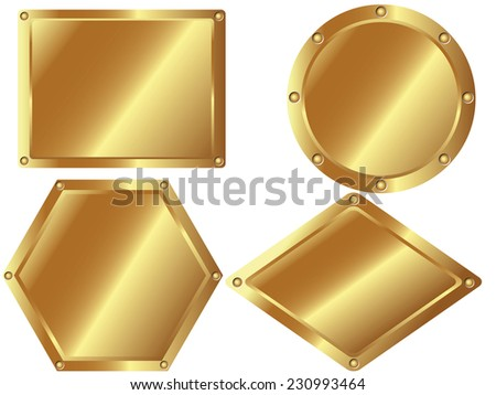 A set of gold metal plates on white background - stock vector
