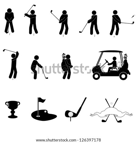 A set of golf icons - stock vector