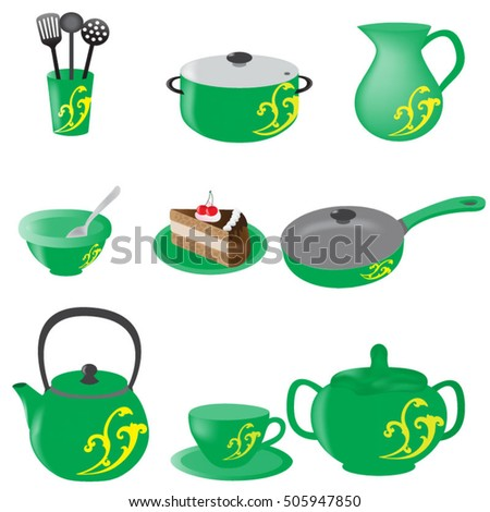 A Set Of Green Kitchen Utensils, Clip Art