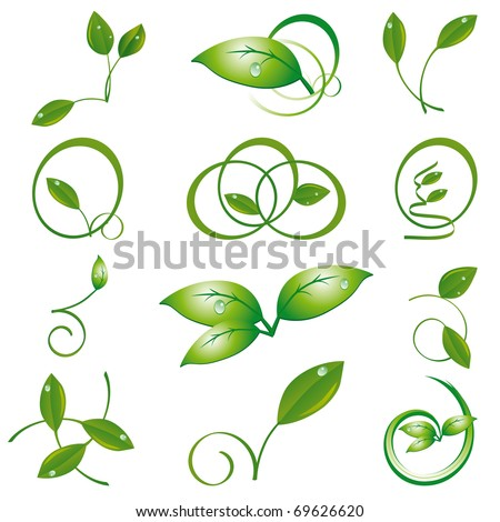 A set of green leaves to the design. Vector illustration - stock vector