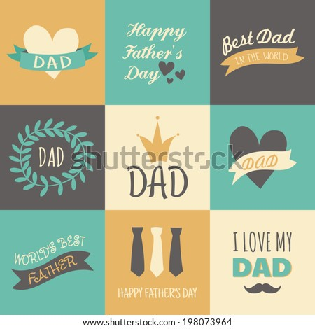 A set of greeting cards for Father's Day. - stock vector