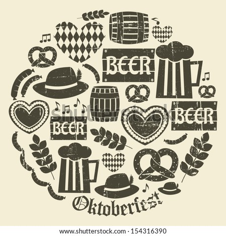 A set of grunge icons for Oktoberfest. - stock vector