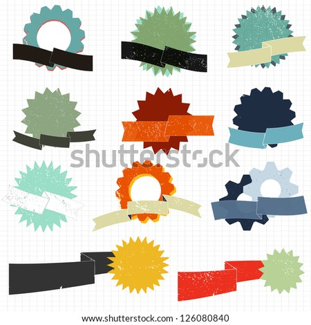 A set of grunge text badges and banners - stock vector