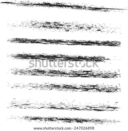 A set of grunge vector lines and ink strokes - vector template.  individual object easy to use - stock vector
