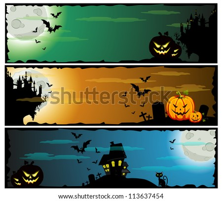 A set of Halloween teamed banners. - stock vector