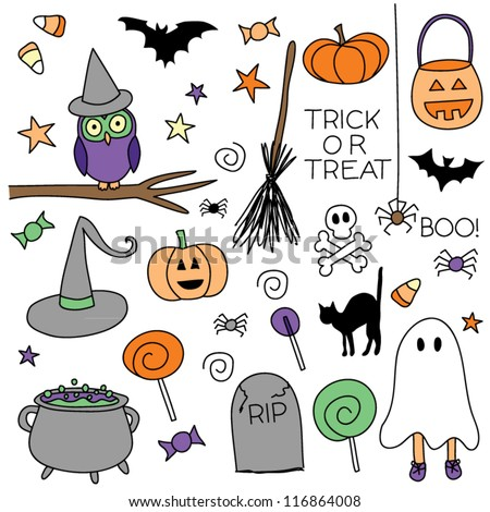 A set of 36 Halloween vector icons - stock vector