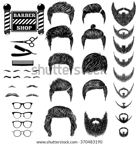 A set of hand drawn of mens hairstyles, beards and mustaches, tools, barbera and the sign Barbershop. Gentlmen haircuts and shaves. Digital black vector illustration. - stock vector
