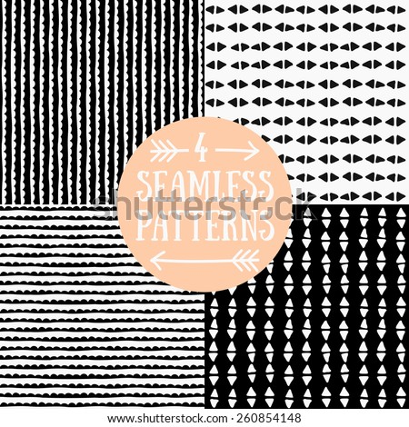 A set of hand drawn style abstract seamless patterns in black and white. - stock vector