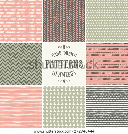 A set of hand drawn style abstract seamless patterns. Tiling repeat backgrounds collection in pastel pink, green and brown. - stock vector
