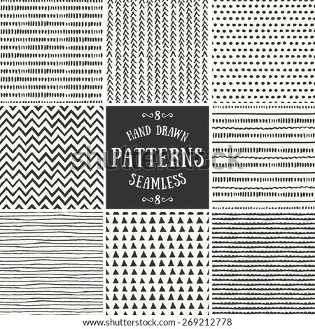 A set of hand drawn style abstract seamless repeat patterns. - stock vector