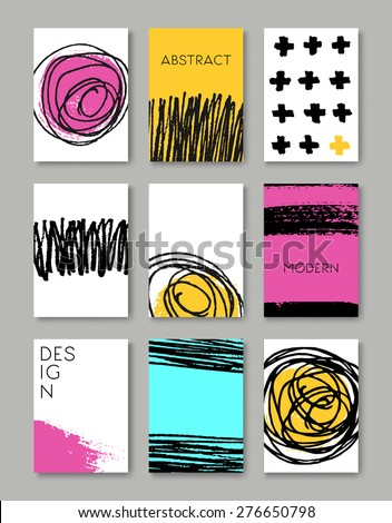 A set of hand drawn style greeting card templates. Abstract brush strokes and ink doodle designs with copy space. EPS 10 file, gradient mesh and transparency effects used. - stock vector