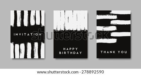 A set of hand drawn style greeting card templates in black and white. Abstract brush strokes designs. EPS 10 file, gradient mesh used. - stock vector