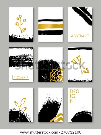 A set of hand drawn style greeting card templates in black, white and golden. Abstract brush strokes, ink doodles and floral element pattern designs with copy space. EPS 10 file, gradient mesh used. - stock vector