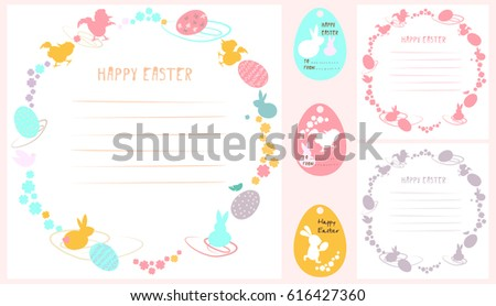 A set of Happy Easter ornaments. Vector picture with rabbits, flowers and colored Easter eggs. Predominant colors: pink, yellow, blue.